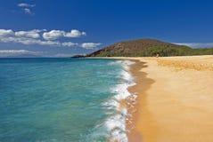 大海滩, Oneloa海滩,南毛伊,夏威夷,美国 免版税库存照片