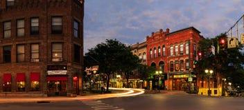 Oneonta NY miasta ulicy, w centrum scena zdjęcie stock