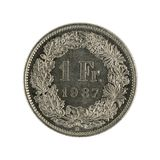 Ones wiss franc coin 1987 isolated on white background. Specimen royalty free stock images
