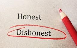 Onestà e disonestà Fotografia Stock