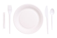 Onetime throwaway dish collection. Onetime throwaway white dish collection Royalty Free Stock Photos
