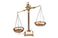 Onevenwichtige schaal tussen inkomen en belastingen Royalty-vrije Stock Afbeelding