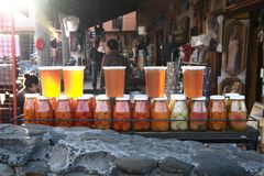Oney and other local produce in Huasca de Ocampo. Huasca de Ocampo, Hidalgo, Mexico - 2019: Honey and other local produce being sold at the town center stock images