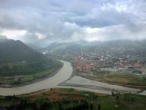 Onfluence del ¡ di Ð dei fiumi di Kura e di Aragvi in Mtskheta, Georgia Fotografia Stock Libera da Diritti