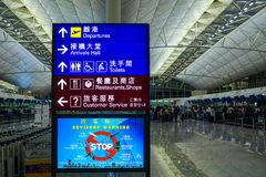 Hong Kong International Airport Terminal 1 check-in counter direction of the sign. Photographed in Hong Kong, China Stock Photography