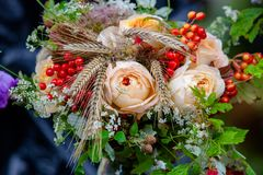 Ongebruikelijk boeket van rozen, aartjes en lijsterbes stock foto