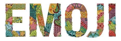 Ongebruikelijk gestileerd Word EMOJI Vector decoratief zentanglevoorwerp Stock Foto