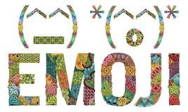Ongebruikelijk gestileerd Word EMOJI Vector decoratief zentanglevoorwerp Royalty-vrije Stock Foto's