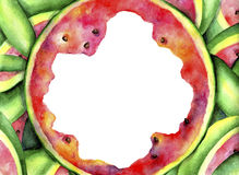 Ongebruikelijk kader van rijpe, sappige, rode watermeloen De achtergrond van de waterverf Stock Fotografie