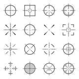 Ongebruikelijke bullseye, nauwkeurige nadruksymbolen Precisiedoelstellingen, de vectorpictogrammen van het schutterdoel stock illustratie