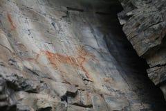 Ongebruikelijke dierlijke Native American-Rotskunst in Noordwestelijk Montana stock fotografie