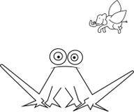 Ongebruikelijke kikker en vliegende olifant royalty-vrije illustratie