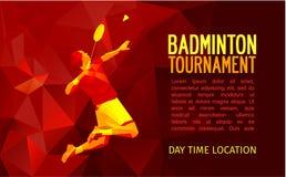 Ongebruikelijke kleurrijke driehoeksvorm Geometrische veelhoekige professionele badmintonspeler, patroonontwerp, vectorillustrati Royalty-vrije Stock Afbeelding