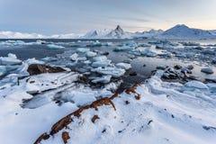 Ongebruikelijke Noordpoolijswereld - Spitsbergen, Svalbard Stock Foto's