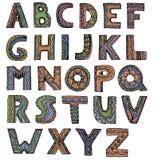 Ongebruikelijke vectordoopvont in de brieven van de krabbelstijl op een witte achtergrond Royalty-vrije Stock Foto's
