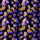 Ongebruikelijke verlichtingsbladeren Nacht geheimzinnig naadloos patroon watercolor royalty-vrije illustratie