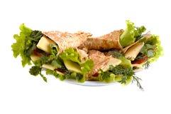 Ongedesemd brood met groenten Stock Foto
