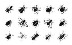 Ongedierte en diverse insecten geplaatst vectorpictogrammen Stock Afbeelding