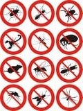 Ongediertebestrijding - waarschuwingsbord Royalty-vrije Stock Foto's