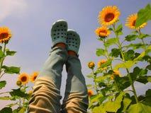 Ongehoorzaam meisje op zonnebloemgebied Stock Fotografie