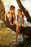 ongehoorzame jongen en meisjeszitting op een tak over water, luid lachen uit, hebbend pret het spreken stock foto