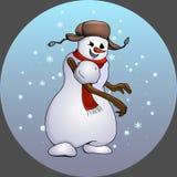 Ongehoorzame pretsneeuwman die sneeuwstuk werpen Stock Afbeeldingen