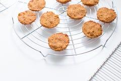 Ongekookte koekjes op rek Stock Afbeelding