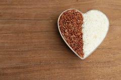 Ongekookte organische rijst en rode rijst in een plastic kom Royalty-vrije Stock Afbeeldingen