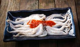 Ongekookte reeks van verse octopus, Royalty-vrije Stock Afbeeldingen