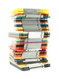 Ongelijke stapel oude computerdiskettes Stock Foto