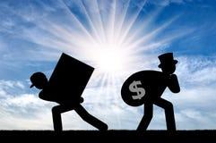Ongelijkheid en kapitalisme stock afbeeldingen