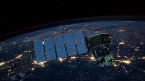 Ongelooflijke mening van Satelliet die de Aarde cirkelen stock videobeelden