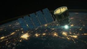 Ongelooflijke mening van Satelliet die de Aarde cirkelen stock video