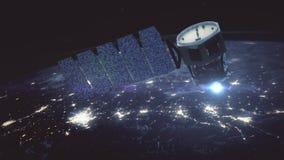 Ongelooflijke mening van Satelliet die de Aarde cirkelen stock footage