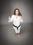 Ongelooflijke uitdrukking voor een judomeisje royalty-vrije stock afbeelding