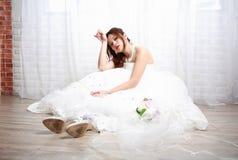 Ongelukkig bruid wachtend huwelijk Stock Afbeelding