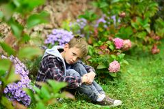 Ongelukkig en miserabel Weinig jongen in diep verdriet Weinig jongen met droevige blikhuid in tuin Kleine kinderen weinig verdrie stock afbeelding