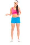 Ongelukkig meisje dat in sportkleding lichaamsvet controleert Royalty-vrije Stock Foto