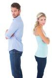 Ongelukkig paar die aan elkaar spreken niet Stock Foto