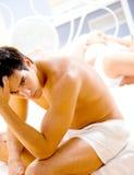 Ongelukkig paar in slaapkamer Royalty-vrije Stock Fotografie