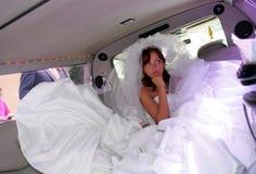 Ongelukkige bruid in Limousine Stock Foto's