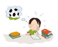 Ongelukkige en vermoeide jongen die voor schoolexamen voorbereidingen treffen, het schrijven thuiswerk, droevig voelen en het dro stock afbeelding