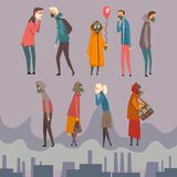 Ongelukkige Mannen, Vrouwen en Kinderen die Beschermende Maskers dragen die in Stad, Mensen lopen die aan Luchtvervuiling lijden vector illustratie