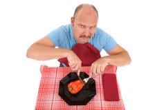 Ongelukkige op dieet zijnde mens Stock Afbeelding