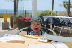 Ongelukkige schreeuwende babyjongen Royalty-vrije Stock Fotografie