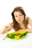 Ongelukkige vrouw die een dieet houdt stock afbeeldingen