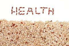 Ongepelde rijst en Gezondheid Stock Foto's
