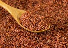 Ongepelde rijst en Lepel Stock Foto's