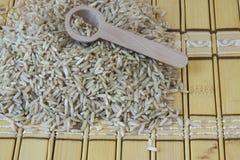 Ongepelde rijst Het heeft een mild nootachtig aroma, is taaier en voedzamer dan witte rijst Royalty-vrije Stock Afbeeldingen