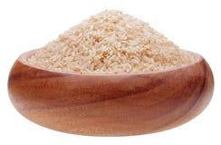 Ongepelde rijst in houten kop royalty-vrije stock foto